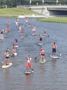 Paddlers compete last month at Benderson Park in Sarasota.