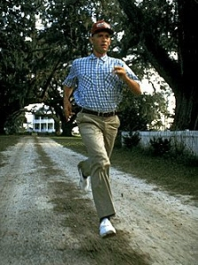 Forrest running at typical brisk pace.